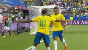 گل دوم برزیل به مکزیک (فیرمینو)