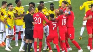 درگیری بازیکنان انگلیس-کلمبیا در جربان بازی