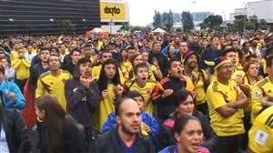 شادی هواداران کلمبیا پس از گل یری مینا
