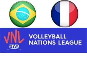 خلاصه والیبال فرانسه 3 - برزیل 2 (لیگ ملتها)