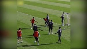 گل زیبای هوگو لوریس در تمرین تیم ملی فرانسه