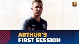 اولین تمرین آرتور با تیم بارسلونا