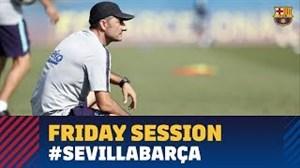 تمرین آمادهسازی بارسلونا برای رویارویی با سویا