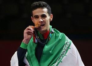 کسب مدال طلای 68 کیلوگرم تکواندو توسط میرهاشم حسینی