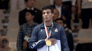 مراسم اهدای مدال طلای گرایی در وزن 77 کیلوگرم