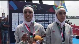 حرف های نازنین رحمانی و مریم امیدی پارسا پس از کسب مدال نقره روئینگ سبک وزن دونفره