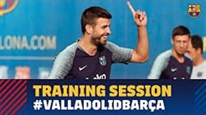 آخرین تمرین بارسلونا قبل از بازی با وایادولید