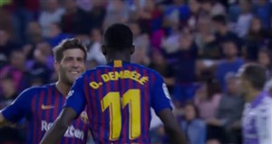 گل اول بارسلونا به وایادولید (عثمان دمبله)