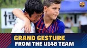 حرکت زیبا و تاثیرگذار بازیکنان زیر 14 سال بارسلونا در ژاپن