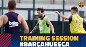 آخرین تمرین بارسلونا پیش از دیدار با اوئسکا