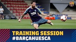 آخرین تمرین بارسلونا پیش از بازی مقابل اوئسکا