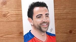 نقاشی زیبا از چهره ژاوی ستاره اسپانیا و بارسلونا