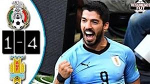 خلاصه بازی اروگوئه 4 - مکزیک 1 (درخشش سوارز)