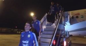 ورود بازیکنان آرژانتین به نیو جرسی برای بازیبا کلمبیا