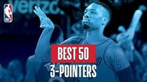 50 پرتاب سه امتیازی برتر فصل 18-2017 بسکتبال NBA