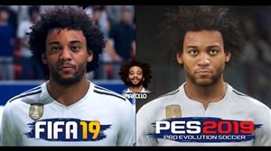 مقایسهچهرهبازیکنان رئالمادرید در PES2019 و FIFA19