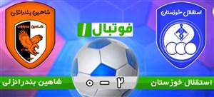 خلاصهبازی استقلال خوزستان 2 - شاهین انزلی 0