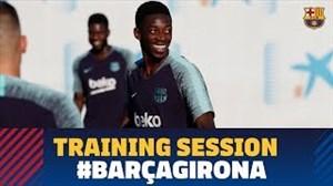 آخرین تمرین بازیکنان بارسلونا پیش از دیدار با خیرونا