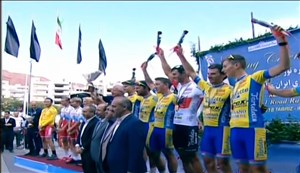 اهدای جوایز تیمی دوچرخه سواری تور ایران-آذربایجان 2018