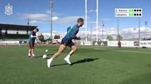 تمرین امروز اسپانیا و چالش پنالتی راموس و سبایوس