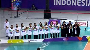 مراسم اهدای مدال نقره والیبال نشسته بانوان(پاراآسیایی)