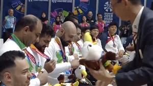 مراسم اهدای مدال طلا به تیم بسکتبال با ویلچر ایران