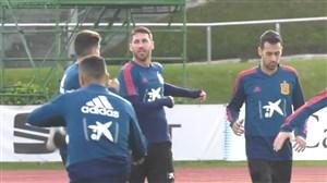 رختکن مدرن و تمرین امروز تیم ملی اسپانیا