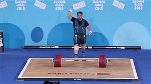 رکوردشکنی و کسب مدال طلای وزنه برداری المپیک جوانان؛علیرضا یوسفی