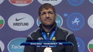 اهدای مدال برنز پرویز هادی در مسابقات کشتی قهرمانی جهان