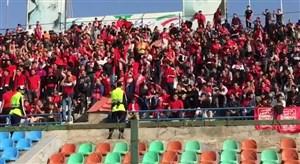 حضور اشکان دژاگه مصدوم و هواداران پرشور تراکتور در ورزشگاه شهر قدس