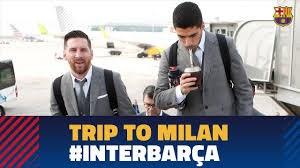 سفر بازیکنان بارسلونا به شهر میلان برای تقابل با اینتر