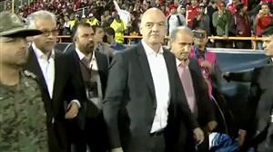 ورود اینفانتینو به زمین ورزشگاه آزادی
