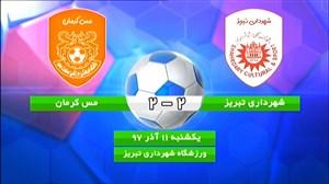 خلاصه بازی شهرداری تبریز 2 - مس کرمان 2