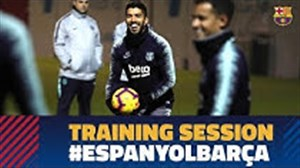 آخرین تمرین بارسلونا  قبل از رویارویی با اسپانیول
