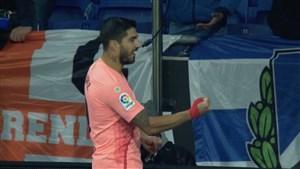 گل سوم بارسلونا به اسپانیول (سوارز)