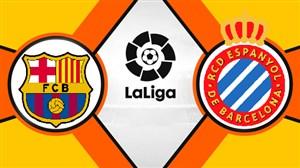 خلاصه بازی اسپانیول 0 - بارسلونا 4(دبل مسی)