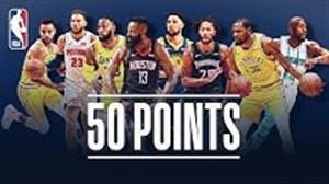50 امتیاز برتر بسکتبال NBA در فصل اخیر