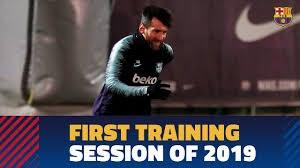 اولین تمرین بازیکنان بارسلونا در سال 2019