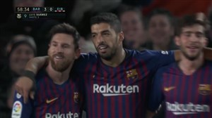 گل سوم بارسلونا به ایبار (سوارز)