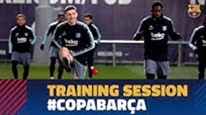 آخرین تمرین بارسلونا قبل از رویارویی با لوانته
