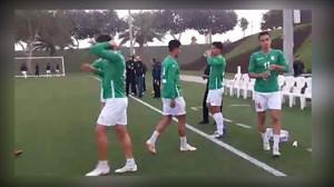 گرم کردن تیم ملی امید پیش از  دیدار با کویت
