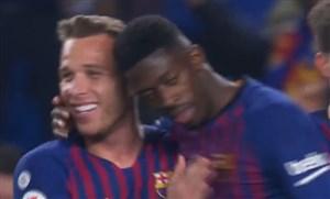 گل اول بارسلونا به لگانس توسط دمبله