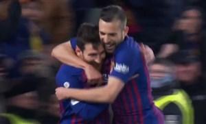 گل سوم بارسلونا به لگانس توسط لیونل مسی