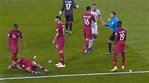پرتاب دمپایی و اشیا به بازیکنان قطر پس از گل سوم