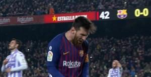 گل اول بارسلونا به وایادولید (مسی-پنالتی)