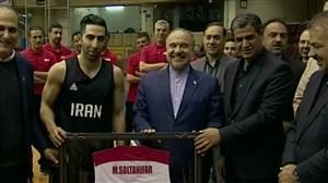 تمرین تیم ملی بسکتبال با حضور وزیر ورزش