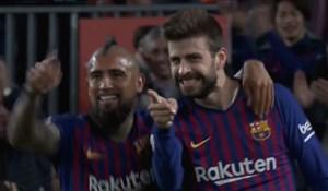 گل اول بارسلونا به رایو وایه کانو توسط پیکه