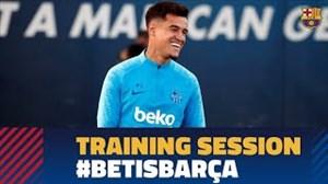 آخرین تمرین بارسلونا پیش از رویارویی با بتیس