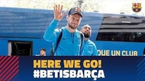 ورود تیم بارسلونا به شهر سویل برای بازی با بتیس