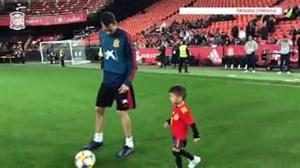 حضور فرزند بوسکتس در تمرین امروز اسپانیا